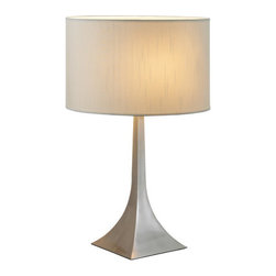 Adesso - Adesso 6364-22 Luxor Tall Table Lamp - Each elegant pyramid shaped square steel base has a white silk-like fabric drum shade.  Specifications: