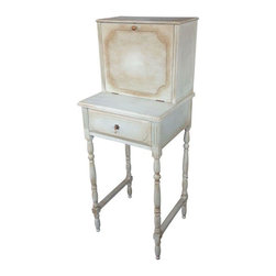Pre-owned 1920s Hand Painted Secretary Desk - A delicate 1920 secretary desk. This desk is an unusual size, perfect for tight spaces. It is a great piece that complements any room. The desk was hand-painted with the highest quality paints.