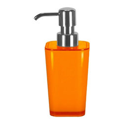 Countertop Bath Accessory - Liquid Soap Dispenser - 10oz, Orange - Unique colorful liquid soap dispenser holding 10oz of soap or lotion.  Perfect kids bathroom accessory or to add a beautiful punch of color to any space. This countertop dispenser has a durable chrome pump for long term use.  Made in Germany. Dispenser (W) 2.75in x (H) 6.75in.