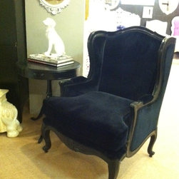 Layla French Provincial Wingback Armchair - Black Wingback Chair