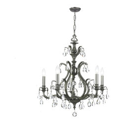 Crystorama - Crystorama 5565-PW-CL-MWP Chandelier - We threw traditional a curve in creating Dawson, a collection of cast brass chandeliers and wall sconces with traditional castings, contemporary curves, modern finishes and sparkling cut crystal. The hand cut crystal is cut by hand in two stages on an iron wheel and then on a sandstone wheel. Each crystal is polished on a wood wheel with marble dust.