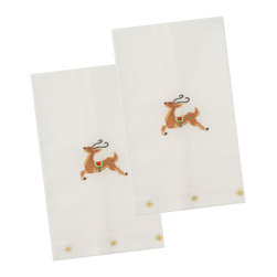The Designs of Distinction - Holiday Guest Towels - Set of 2, Reindeer - These 100% Cotton guest -towels have a hemstitched bottom and are carefully hand embroidered in small fair trade villages. They have holiday motifs. Sold in sets of 2.