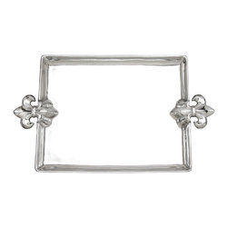 Arthur Court - French Lily Large Tray - Serve your friends and family like royalty with this handsome tray. The handles, a clever update on the fleur-de-lis pattern, is perfectly suited to your traditional decor.