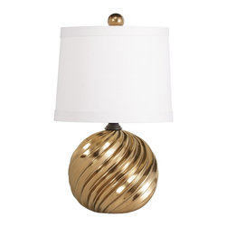 Kichler Lighting - Kichler Lighting Raquel Transitional Accent Lamp X-77807 - Clean lines and elegant curves make this 1 light portable accent lamp from the Raquel collection memorable. A distinctive Ceramic finish, Hard Back Fabric shade and tasteful detailing form an elegant profile.