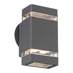 "Possini Euro Design - Possini Euro Graphite 8"" High LED Up/Down Outdoor Wall Light - When it comes to beautifying your home your outside space can feel neglected. After all you do spend most of your time with your interior furnishings right? Rectify that situation by installing this sleek contemporary outdoor wall light. It enhances your home's exterior with a lovely graphite finish clear glass and energy-efficient LED lighting in both up and down directions. From the Possini Euro Design outdoor lighting collection.  Graphite finish.  Clear glass.  Includes eight 1 watt LEDs.  Warm white 2900-3100K color temperature.  Light output is 455 lumens.  Comparable to a 40 watt incandescent bulb.  LEDs from Cree Lighting.  Not dimmable.  ADA compliant.  8"" high.  4 1/4"" wide.  Extends 4"" from wall."