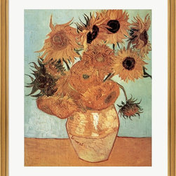 "Great Art Now - Vase with Twelve Sunflowers by Vincent Van Gogh Framed Art , Size 26 X 30.5 - Vase with Twelve Sunflowers, c.1888 by Vincent Van Gogh is a high quality piece of framed artwork. The finished size of this piece is 26"" X 30.5"". It has a Gold Coventry frame, is single matted and finished with high quality Acrylic Plexiglass. Hand made in the USA. 100% Satisfaction Guaranteed."