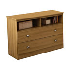 South Shore - South Shore Media Chest in Harvest Maple - South Shore - Chests - 3026043 -This Treehouse Media Chest in Harvest Maple finish is versatile, featuring 2 large drawers with satin nickel metal handles that are perfect for storing clothes or toys, and two easy-access open storage spaces ideal for electronics with holes for wire management. Place it under the Treehouse loft bed or elsewhere in the bedroom for additional storage. Create an entertainment area any child would love by placing a TV on top (up to 42-inch, less than 100 lbs) and game consoles in the open compartments. The interior drawer dimensions are 35-3/4-inch wide by 14-1/4-inch front to back and are equipped with metal slides for smooth gliding. The dimensions of the 2 open spaces are 16-1/2-inch wide by 16-3/4-inch deep by 6-3/4-inch high. Also available in Chocolate finish. It measures 41-inch wide by 17-inch deep by 29-1/2-inch high. It is delivered in a box measuring 47-1/4-inch by 17-1/4-inch by 6-inch and weighing 73 pounds. Accessories not included and the back is not laminated. New and improved drawer bottoms made with wood fibers. Manufactured from certified Environmentally Preferred laminated particle panels. Complete assembly required by 2 adults. Tools are not included. 5-year limited warranty. Made in Canada.