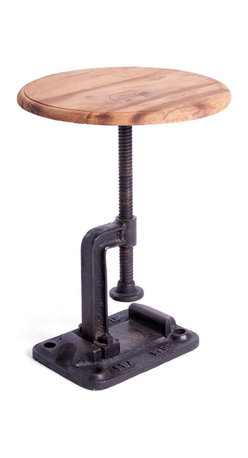 Kathy Kuo Home - Vintage Industrial Reclaimed Wood Clamp Stool - No screws loose here! This cleverly repurposed cast iron vise swivels so that you can adjust the height of this quirky stool. Topped with reclaimed wood, this singular stool will look ideal in your studio.