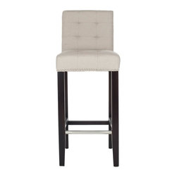 Safavieh - Caroline Barstool, Taupe, 16.7 X 20.1 X 40.6 - The Caroline Bar Stool offers classic design and sumptuous comfort for traditional or transitional interiors. Featuring espresso finished birch wood legs and upholstered in taupe linen with nail head trim, Caroline is sure to add a touch of elegance to your bar or pub table. With button detailing on the seat and back cushions, Caroline offers fashion and function. No assembly required.