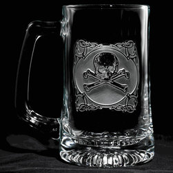 "Crystal Imagery, Inc. - Skull and Cross Bones Beer Mug Set, Engraved Barware Mancave Gifts - Engraved skull and cross bones beer mug is a perfect cool gift idea for guys. Rock and roll style beer mug. Bad to the bone beer mug is what you have with this skull and bones beer mug. Deeply carved using our sand carving technique, each of our custom beer mugs is meticulously custom made to order making it the perfect gift for those seeking unique gift ideas for beer lovers - men and women alike. At 5.75"" high x 3"" wide, our beer mugs and glasses hold 15 oz. A set of these etched, engraved beer mugs will be the favorite gift at any special gift giving occasion. Dishwasher safe. SOLD AS SET OF 4."