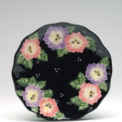 """ATD - Set of 4 Black Porcelain Plate with Colorful Floral Design, 10.25"""" - This gorgeous Set of 4 Black Porcelain Plate with Colorful Floral Design, 10.25"""" has the finest details and highest quality you will find anywhere! Set of 4 Black Porcelain Plate with Colorful Floral Design, 10.25"""" is truly remarkable."""