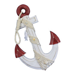 """Handcrafted Nautical Decor - Wooden Rustic Red/White Anchor with Hook Rope and Shells 13"""" - Nautical Decor - An icon of sailing past and present, the nautical anchor is both a necessary piece of equipment aboard ship as well as a talisman of good luck for all sailors who step aboard. This delightful Wooden Rustic Red/White Anchor with Hook Rope and Shells 13"""" carries with it that same enchanting feel, bringing the wonder and magic of the sea into your home or office. No matter where you choose to place one of these fabulous anchors, enjoy its chic nautical style, historic significance, and symbolic wonder each and every day."""