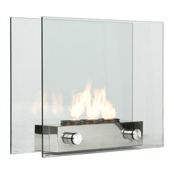 Holly & Martin - Hudson Portable Indoor/Outdoor Gel Fireplace - Sheer modern elegance wrapped up in a unique portable gel fireplace. Floating glass panels are held in place by a brushed nickel base that houses up to 3 cans of FireGlo gel fuel with output up to 3,000 BTU each. The glass panels provide an unobstructed view of the magnificent flame while adding a modern loft appearance. When heat is not desired, use the included snuffer cover, and replace the gel fuel cans with decorative pillar candles. All of your guests are sure to compliment you on such an eye catching piece.