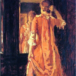 """William Merritt Chase Young Woman Before a Mirror   Print - 18"""" x 24"""" William Merritt Chase Young Woman Before a Mirror premium archival print reproduced to meet museum quality standards. Our museum quality archival prints are produced using high-precision print technology for a more accurate reproduction printed on high quality, heavyweight matte presentation paper with fade-resistant, archival inks. Our progressive business model allows us to offer works of art to you at the best wholesale pricing, significantly less than art gallery prices, affordable to all. This line of artwork is produced with extra white border space (if you choose to have it framed, for your framer to work with to frame properly or utilize a larger mat and/or frame).  We present a comprehensive collection of exceptional art reproductions byWilliam Merritt Chase."""
