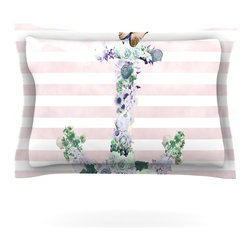 "Kess InHouse - Nika Martinez ""Floral Anchor"" Pink Stripes Pillow Sham (Woven, 30"" x 20"") - Pairing your already chic duvet cover with playful pillow shams is the perfect way to tie your bedroom together. There are endless possibilities to feed your artistic palette with these imaginative pillow shams. It will looks so elegant you won't want ruin the masterpiece you have created when you go to bed. Not only are these pillow shams nice to look at they are also made from a high quality cotton blend. They are so soft that they will elevate your sleep up to level that is beyond Cloud 9. We always print our goods with the highest quality printing process in order to maintain the integrity of the art that you are adeptly displaying. This means that you won't have to worry about your art fading or your sham loosing it's freshness."