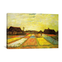 Vincent van Gogh Canvas Print, Tulpenfelder (Tulip Fields) - Museum-quality canvas print by Vincent van Gogh gallery wrapped and ready for wall hanging with no additional framing required. The canvas print is remarkably bright in color and unrivaled in detail with quality ink that has been light-tested to last over 100 years!