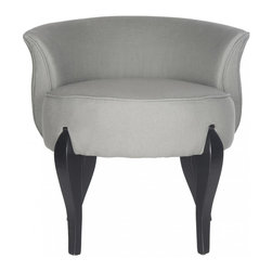 Safavieh - Mora Vanity Chair - Sea Mist - Signaling the return to glamour, the Mora vanity chair by Safavieh conjures images of Hollywood dressing rooms. Curvy as a starlet, this diminutive chair is upholstered in sea mist linen and accented with black cabriole style legs. Use the Mora chair in the bedroom or master bath for a touch of luxury.