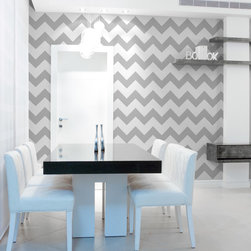 Large Modern Chevron Wall Stencil - Large Modern Chevron Wall Stencil from Royal Design Studio Stencils. This hand painted contemporary wall stencil makes a graphic statement as an accent wall in living rooms, dining rooms, powder rooms and foyers. This geometric pattern works with modern, retro, vintage and mid-century modern furnishings.