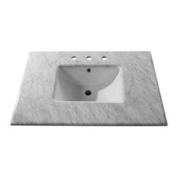 Bellaterra Home - 30 Inch White Carrera Marble Counter Top with Rectangular Sink - Transform your bathroom with Bellaterra's natural Carrera White Marble Vanity Top. Our solid marble top provides functional beauty for any bathroom and is polished and sealed with the highest quality. It is pre-drilled to accommodate most 8 in. widespread faucets. and pre-installed with 15 in rectangular white UPC undermount sinks.
