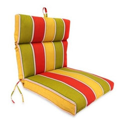 Jordan Manufacturing Company Inc. - Jordan Outdoor Chair Cushion in Napa Stripe Salsa - Spice up your patio, deck, or porch with this universal replacement seat cushion. This versatile and sturdy outdoor seat pad blends well many design motifs and easily fits numerous chair styles.