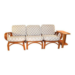 Ritts Tropitan - Pre-owned Ritz Bamboo Tropitan Sofa & Side Table - Set of 4 - We love this fabulous and versatile four piece Ritz Bamboo Tropitan sofa set (that can also be transformed into a love seat and chair). The table has the original Tropitan metal plates for authentication. These pieces have the three row arms, as does the table. The cushions have been newly upholstered in a graphic grey and white waterproof fabric. Set still has original metal understraps.     The seller also has several other pieces that could make up an even larger set. Please email: support@chairish.com if you're interested in additional pieces, and for reduced prices on a larger set.