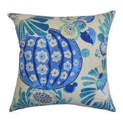 """The Pillow Collection - Ifor Floral Pillow Azure Blue 20"""" x 20"""" - This throw pillow with a beautiful azure blue and natural hues will certainly bring a refreshing twist to your space. You can easily update your decor style with this striking accent pillow. The floral pattern featured in this 20"""" pillow adds dimension to your interiors. Toss this square pillow anywhere inside your home and pair it with an equally appealing pattern for contrast. Made from 100% soft and durable cotton fabric. Hidden zipper closure for easy cover removal.  Knife edge finish on all four sides.  Reversible pillow with the same fabric on the back side.  Spot cleaning suggested."""
