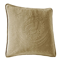 Historic Charleston Collection - King Charles Matelasse Birch 20-Inch Square Decorative Pillow-Only - - Steeped in Historic Charleston?s rich, classic style and decorative arts culture, the King Charles 100% cotton matelass� bedding collection offers a unique blend of European, Caribbean, and Asian influences.   - King Charles matelass� bedding offers a luxuriously soft bedspread, coverlet, bed skirt, shams and decorative accent pillows featuring classic 19th century motifs representing the sun, a topiary, a pheasant, and a pineapple.   - The superior design of the King Charles matelass� bedding ensemble can be traced back to England circa 1820, incorporating key influences from that time period including the fine arts and superior craftsmanship.   - Each piece is crafted individually on special weaving looms to create the luxurious design that defines this lovely matelass� bedding collection.   - Highs and lows created during the jacquard weaving process allow the intricate designs and motifs to come to life.   - Designs from the archives of Historic Charleston?s heritage, were interpreted to create the lovely King Charles bedding set.   - Rolling arches, half-moons, double diamonds and scrolling vine details wrap around the classic topiary, pheasant, sun and pineapple motifs.   - Coverlet and bedspread drape beautifully over the bed to reveal rounded corners.   - Pair the bedspread or coverlet with bed skirt to create a complete look.   - Add coordinating, decorative shams and pillows to create the ultimate bedroom oasis.   - The heavy-weight, stonewashed matelass� of King Charles bedding ensures life-long durability and style for generations to come.   - Crafted in Portugal.   - Stone-washed.   - 100% cotton matelass�.   - The Historic Charleston Foundation was established in 1947 and is a nonprofit organization whose mission is to preserve and protect the historical, architectural and material culture that make up Charleston?s rich and irreplaceable heritage.   