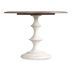 "Hooker Furniture - Hooker Furniture Melange Brynlee 42in. Table - A soft walnut finish and inlay patterned top on the Brynlee Dining Table are combined with a shaped antique white base. Hardwood Solids and Walnut Veneers with Resin. Dimensions: 42""W x 42""D x 30""H."