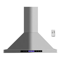 """Golden Vantage - Euro Stainless Steel Range Hood - Golden Vantage, Wall Mount, 30"""" 3 Speeds - Golden Vantage Stainless Steel WRHB02GZ75 Wall Mounted Range Hood with 3 Speeds, Timer Function, LCD Touch Screen, Stainless Steel Baffle Filters, and Halogen Lights."""