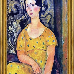 "Amedeo Modigliani-16""x24"" Framed Canvas - 16"" x 24"" Amedeo Modigliani Young Woman in a Yellow Dress (also known as Madame Modot) framed premium canvas print reproduced to meet museum quality standards. Our museum quality canvas prints are produced using high-precision print technology for a more accurate reproduction printed on high quality canvas with fade-resistant, archival inks. Our progressive business model allows us to offer works of art to you at the best wholesale pricing, significantly less than art gallery prices, affordable to all. This artwork is hand stretched onto wooden stretcher bars, then mounted into our 3"" wide gold finish frame with black panel by one of our expert framers. Our framed canvas print comes with hardware, ready to hang on your wall.  We present a comprehensive collection of exceptional canvas art reproductions by Amedeo Modigliani."