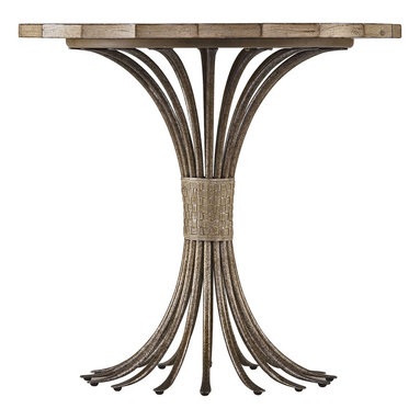 Stanley Furniture - Coastal Living Resort Eddy's Landing Lamp Table - Weathered Pier Finish - With its combination of metal, leather and wood, our Eddy's Landing Lamp Table is an ode to the beauty of natural materials. What's more the gently curved edge of the round table sitting a top the tentacle-like legs of the base are so perfectly evocative of all things coastal you can't help but be drawn to this table's unique allure. Antique pewter inlay in top; woven leather wrapping around antique pewter iron base. Made to order in America.