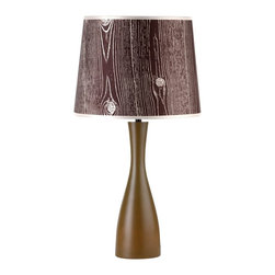 """Lights Up - Contemporary Lights Up! Faux Bois Shade Olive Oscar 24"""" High Table Lamp - This vibrant table lamp from Lights Up! and designer Rachel Simon is a fun and lively way to bring brightness to a room. The Oscar base features an olive finish and an hourglass shape. The artistic imitation of wood shade is eco-friendly and is made from 100-percent recycled plastics and is printed using water-based inks. Lights Up! by Rachel Simon. Olive finish base. Faux bois dark shade. Takes one 100 watt bulb (not included). Shade is 11"""" across top 13"""" across bottom and 10"""" high. 24"""" high.  Lights Up! by Rachel Simon.   Olive finish base.   Faux bois dark shade.   Takes one 100 watt bulb (not included).   Shade is 11"""" across top 13"""" across bottom and 10"""" high.   24"""" high."""