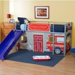 Fire Department Junior Fantasy Loft with Slide - Silver - The fireman's pole may be the traditional way to get downstairs, but the slide that's included with the Fire Department Junior Fantasy Loft with Slide - Silver is a little easier on the hands. We promise he won't complain about the compromise, as his bed is certain to become the favorite of all his friends. Durable metal construction and guard rails ensure safety, while the bright slide gives a welcoming look to his room. The themed tent creates a cozy play area under the bunk, and can be removed to be laundered or stored as your child grows up. Choose from available colors for slide.About Dorel IndustriesFounded in 1962, Dorel Industries is a family of over 26 brands, including bicycle brands Schwinn and Mongoose, baby lines Safety 1st and Quinny, as well as home furnishing brands Ameriwood and Altra Furniture. Their home furnishing division specializes in ready-to-assemble pieces, including futons, microwave stands, ladders, and more. Employing over 4,500 people in 17 countries and over four continents, Dorel is renowned for their product diversity and exceptionally strong commitment to quality.We take your family's safety seriously. That's why all of our bunk beds come with a bunkie board, slat pack, or metal grid support system. These provide complete mattress support and secure the mattress within the bunk bed frame. Please note: Bunk beds and loft beds are only to be used by children 6 years of age or older.