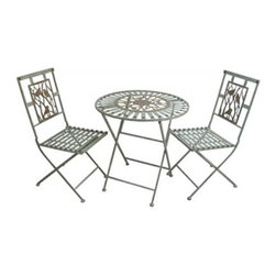 Alpine Corporation - Metal Bistro Set (1 Table and 2 Chairs) - Simple yet elegantly designed. This metal bistro set provides enough space for one to stretch out, or two to enjoy each others company.