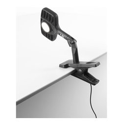 "Luceplan - Otto Watt LED Clip Light | Luceplan - Design by Alberto Meda and Paolo Rizzatto, 2011. The Otto Watt LED CLip Lamp is the perfect desk companion. A head that swivels 360 degrees, a reflector with glare-free filter, LED source and dimmable variable white light. Sleek, elegant and concise, they express the essence of ""producing light"" and Luceplan""s consolidated experience in this product area. The graceful, dual-jointed aluminum arm can be inserted into the stable quadrangular base. The LED light can be adjusted to provide warm or cool white light by rotating the diffuser. The high ratio of light emitted to power absorbed is the key to this lamp""s extreme efficiency. The head is made from die-cast aluminum and has two lateral openings to ensure disperse heat and facilitate smooth adjustment. Otto Watt supplies the ideal lighting conditions for all circumstances, for relaxation or precision work."