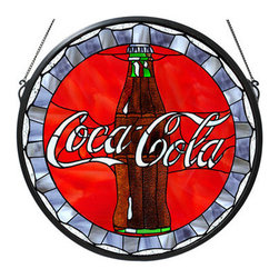 """Meyda Tiffany - Meyda Tiffany 106225 Stained Glass Bottle Cap Medallion Coca-Cola Colle - *One of the most recognizable and iconic symbols of our time """"Coca - Cola"""" a true American original has teamed up with another true American original """"Meyda Tiffany"""" to offer these beautiful one of a kind stained glass windows"""