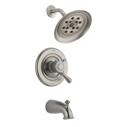 Delta - Leland Monitor 17 Series Tub and Shower Trim - Delta T17478-SSH2O Leland Monitor 17 Series Tub and Shower Trim with Single Function Showerhead, Tub Spout and H2Okinetic Technology in Stainless.