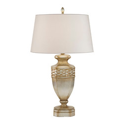 Fine Art Lamps - Recollections Table Lamp, 829410ST - Can't choose between silver and gold? Get the best of both with this handsome table lamp. The base is covered in a silver leaf that's been burnished with a gold stain. The beige laminated shade conceals a three-way bulb, giving you plenty of lighting flexibility.