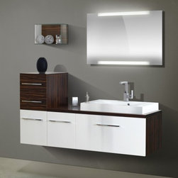 VITUN Bathroom Vanity only-White and Walnut vanity - 1.Dimension:                                    Cabinet:1300x 496x 430mm               Mirror:900x600mm                                Side cabinet:400x496x860mm                                                         2.Material:                                             Base Cabinet: Melamine faced board                                      Basin/Sink:Acrylic
