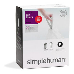 simplehuman - Code P Custom Fit Can Liners, 50-60 Liters, 50 Pack - No one told you trash duty would be fun — but now, at least, it's easier. With liners specially sized to fit your simplehuman trash can, you'll eliminate unsightly bag overhang and rely on extra-thick, double-seam construction to prevent messy tearing.