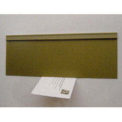 "STR Products, LLC - Energy Efficient Mail Slot Door - Draft Free - Gold - Metal Door - The Magnetic Mail Slot Door uses flexible magnetic sheet material to eliminate drafts and seal mail slot openings. Fastens easily to the Interior of any door or wall with any standard opening. Used in conjunction with your existing exterior mail slot door. Saves on fuel bills and pays for itself quickly. Easily adaptable to all openings. Quantity discounts available to contractors. Dimensions: 5"" high x 13-1/2"" wide."