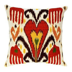 "Jules Pansu - Jakarta Ikat Tapestry Pillow - Since 1878 Jules Pansu {Paris} has created & manufactured some of the most beautiful wall tapestries and fabrics available anywhere. And now their collection includes exquisite home accessories that use the time honored tradition of jacquard weaving and lead the way in innovative textile design. Today Jules Pansu celebrates 130 years of enriching homes with vivid colors, savoir-faire and innovation. Features: -Color: Red Multi. -Material: Cotton twill. -Insert filled with 95% white goose feathers / 5% white goose down. -210 Thread count. -Dry clean only. Dimensions: -18"" W x 18"" D, 2 lbs."