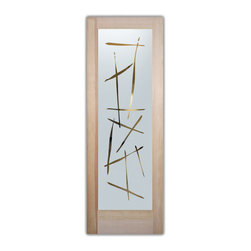 "Sans Soucie Art Glass (door frame material T.M. Cobb) - Interior Glass Door Sans Soucie Art Glass - Sans Soucie Art Glass Interior Door with Sandblast Etched Glass Design. GET THE PRIVACY YOU NEED WITHOUT BLOCKING LIGHT, thru beautiful works of etched glass art by Sans Soucie!  THIS GLASS IS SEMI-PRIVATE.  (Photo is View from OUTside the room.)  Door material will be unfinished, ready for paint or stain.  Satin Nickel Hinges. Available in other wood species, hinge finishes and sizes!  As book door or prehung, or even glass only!  1/8"" thick Tempered Safety Glass.  Cleaning is the same as regular clear glass. Use glass cleaner and a soft cloth."