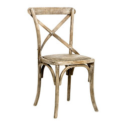 Parisienne Cafe Chair - Limed Grey Oak - Solid oak with a rattan seat, the Parisienne Cafe Chair explores the possibilities for design which are inherent in relatively few pieces of beautifully-carved wood.  Its limed finish adds an exquisite cultured look which adds a perfect panache to interiors that rely on weathered, distressed textures, but can also be used boldly to bring depth to a collection of more polished woods.