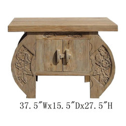 """Chinese Antique Camphor Wood Flower Carving Side Cabinet - This is Chinese antique side cabinet which is made of camphor wood is also call """"Zhang Mu"""". Usually camphor is made for trunk at the market, so it is hard to find a cabinet is made of camphor wood. The front of cabinet has very detail flower hand carving on it. This is cabinet is worth to collecting."""