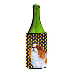 Caroline's Treasures - English Toy Spaniel Candy Corn Halloween Portrait Wine Bottle Koozie Hugger - English Toy Spaniel Candy Corn Halloween Portrait Wine Bottle Koozie Hugger Fits 750 ml. wine or other beverage bottles. Fits 24 oz. cans or pint bottles. Great collapsible koozie for large cans of beer, Energy Drinks or large Iced Tea beverages. Great to keep track of your beverage and add a bit of flair to a gathering. Wash the hugger in your washing machine. Design will not come off.