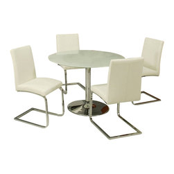 Pastel Furniture - Pastel Furniture Sundance Frosted Glass 5 Piece Dining Set with Monaco Chairs - Pastel Furniture - Dinette Sets - SU5154417MC110CH9785PKG - Pastel Furniture Monaco Side Chair Upholstered in Pu Ivory