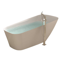 ADM - ADM White Stand Alone Solid Surface Stone Resin Bathtub, White, Glossy - SW-121