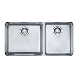 Franke - Double Bowl Undermount Sink - Franke KBX12034 Kubus Double Bowl Undermount Sink