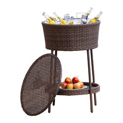 Great Deal Furniture - Rosin PE Wicker Ice Bucket Beverage Cooler, Brown - Keep your beverages ice cold with the stylish Rosin wicker ice bucket and beverage cooler. Complete with a matching lid, this piece stands on its own and is essential for entertaining on those hot, sunny days. It can also double as a wine or beverage cooler. Whether you are having friends over, or just enjoying an intimate dinner for two, the Rosin is a great dining accessory.